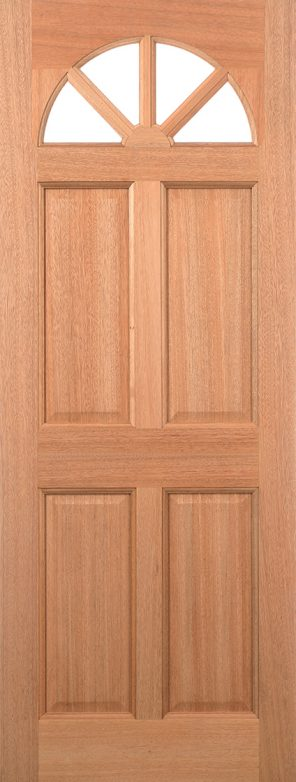 Hardwood mortice & tenons carolina 4 panel clear double glazed external door