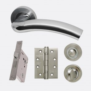 Jupiter polished satin chrome internal hardware privacy pack