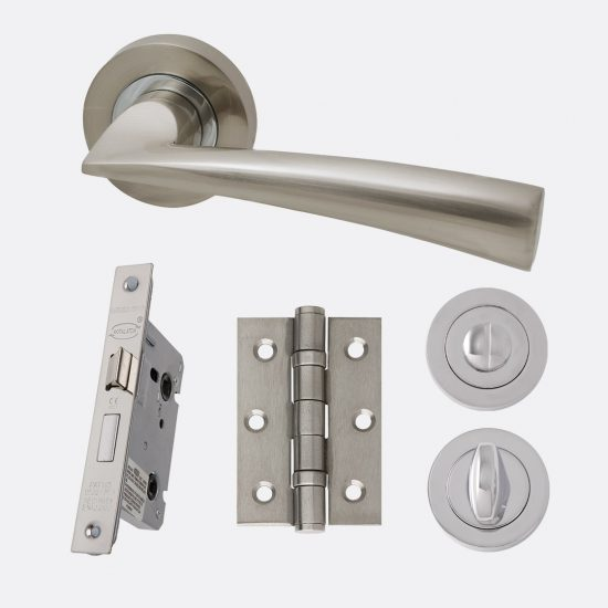 Mars polished chrome & satin nickel internal hardware privacy pack