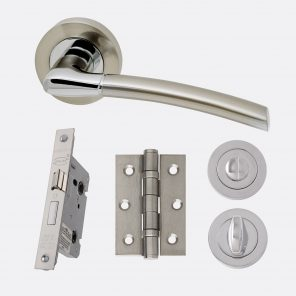 Mercury polished chrome & satin nickel internal hardware privacy pack