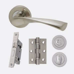Solar polished chrome & satin nickel internal hardware privacy pack