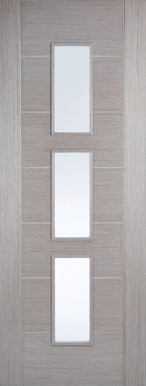 Prefinished light grey hampshire 3 lite clear glazed internal door