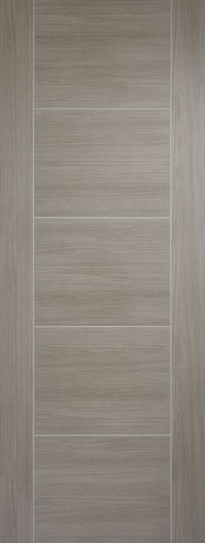 Laminate prefinished light grey vancouver 5 panel internal door