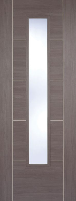 Laminate prefinished medium grey vancouver 1 lite clear glazed internal door