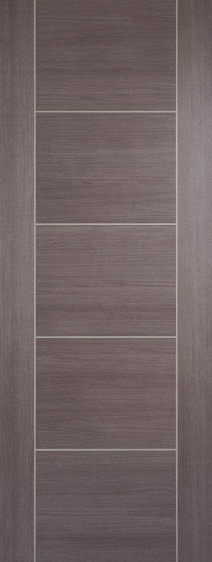Laminate prefinished medium grey vancouver 5 panel internal door