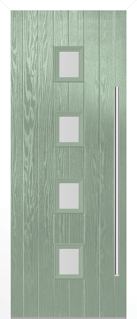 Grp composite milton chartwell green double glazed external door set with white frame