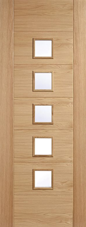 Oak carini 5 lite clear glazed internal door