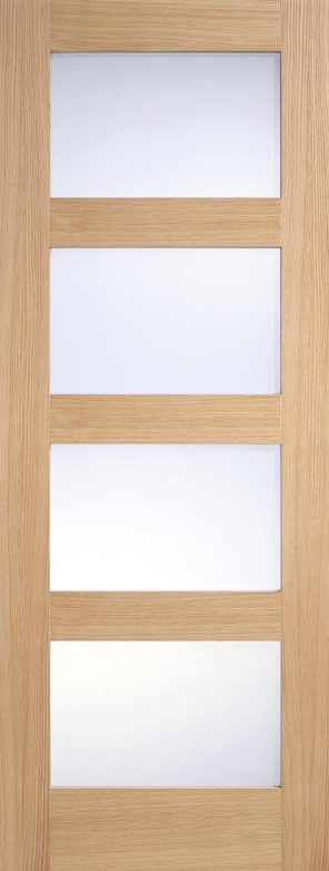 Prefinished oak contemporary 4l frosted glazed internal door