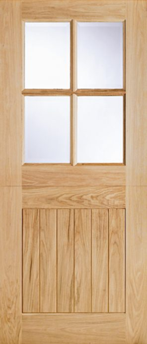 Oak cottage 4l clear double glazed external stable door