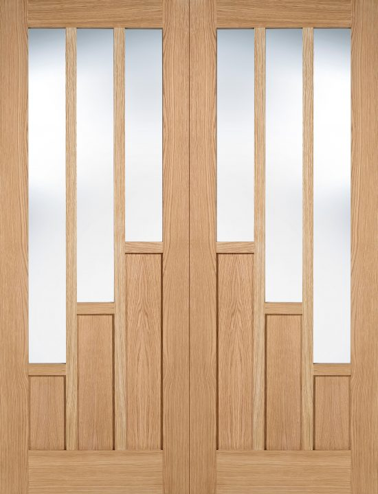 Oak coventry clear glazed internal door pairs