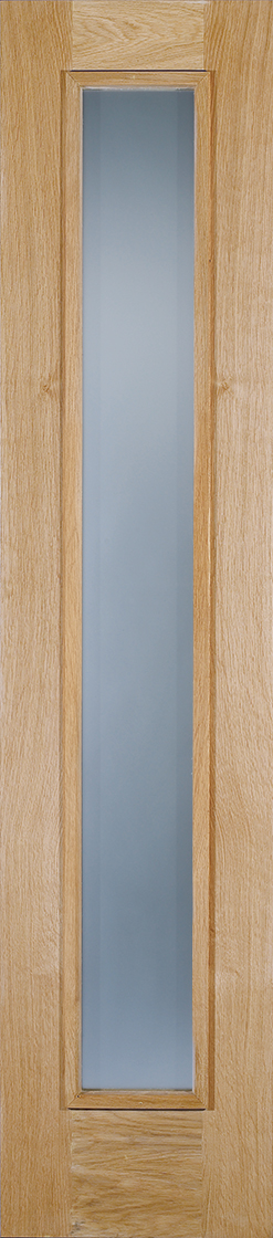 Oak frosted double glazed external sidelight