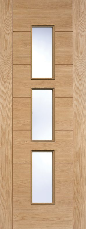 Prefinished oak hampshire 3l clear glazed internal door