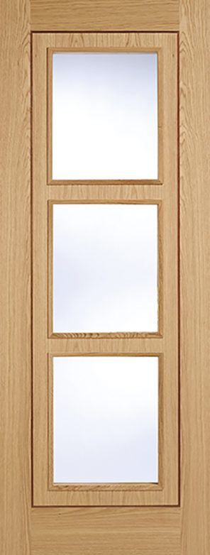 Prefinished oak inlay 3 lite clear glazed internal door