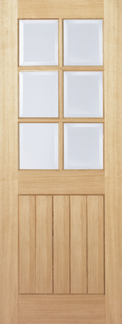 Prefinished oak mexicano 6l clear bevelled glazed internal door