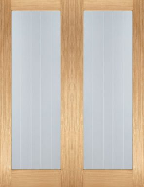 Oak mexicano pattern 10 clear glazed internal door pairs