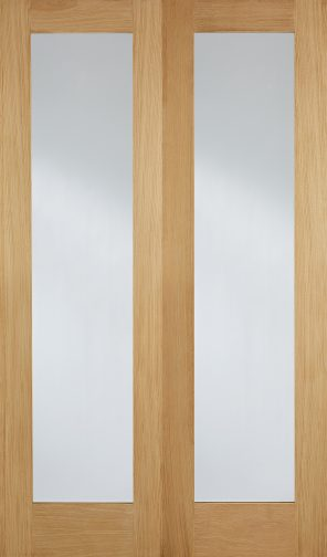Oak pattern 20 clear glazed internal door pairs