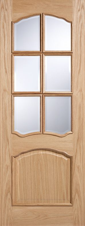 Oak riviera clear bevelled glazed rm2s (raised mouldings) internal door