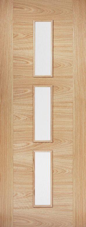 Prefinished oak sofia 3l clear glazed internal door