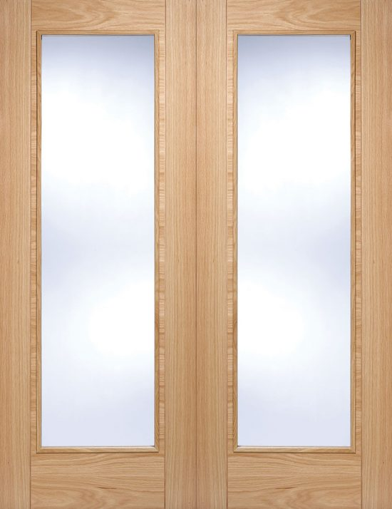 Prefinished oak vancouver pattern 10 clear glazed internal door pairs