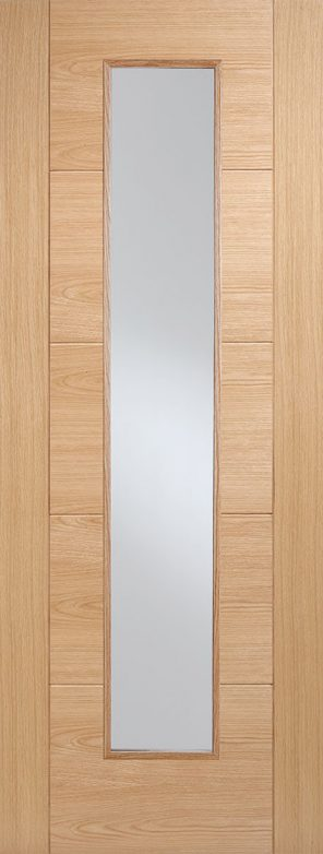 Prefinished oak vancouver long light clear glazed internal door