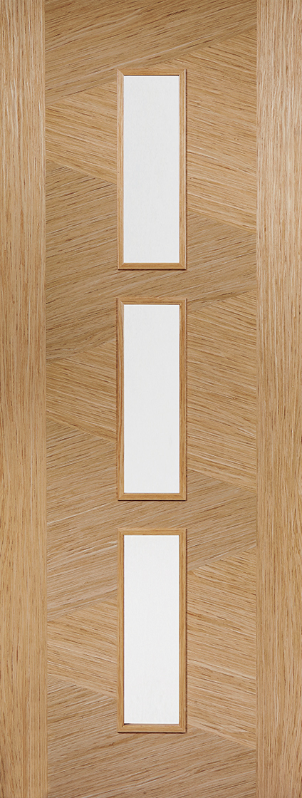 Prefinished oak zeus 3l clear glazed internal door