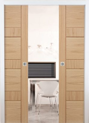 Double pocket door system set