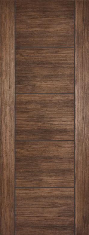 Laminate prefinished walnut vancouver 5 panel internal door