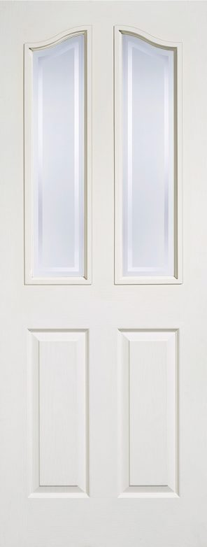 White primed composite mayfair 2 panel 2 lite frosted glazed internal door
